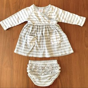Hanna Andersson baby gray white stripe dress set